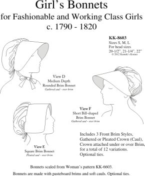 KK8603 - 1790-1820 Girl's Bonnets Pattern.