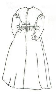 1850s-1860 Ladies Work Dress Pattern