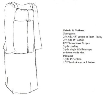 1812 High Waisted Shortgown and Petticoat Pattern