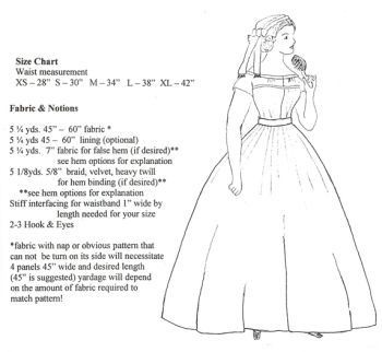 1850s to 1860s Pleated Skirt Pattern
