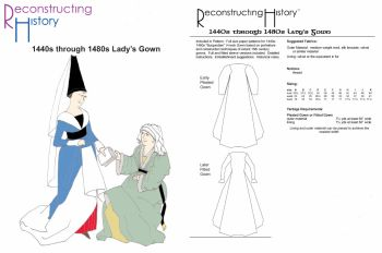 1440s-1480s Lady's V-neck Gown Pattern