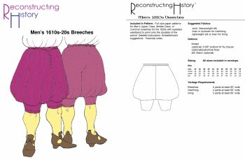 1610s-20s Breeches Pattern by Reconstructing History