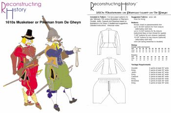 1610's De Gheyn Musketeer or Pikeman - Doublet, Jerkin, Cassock and Breeches Pattern