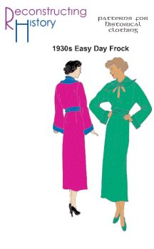 1930s Day Frock with Long Sleeves and High Neck Pattern