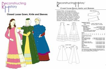 Late Elizabethan Closed Loose Gown, Kirtle and Sleeves Pattern