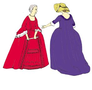1740's - 1770's Robe Francais or Sacque Gown Pattern