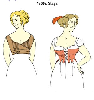 1800s Early Regency Era Stays Pattern