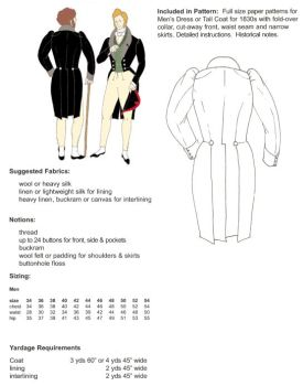 1830s Dress Coat Pattern