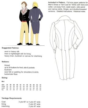 1840s Dress Coat Pattern