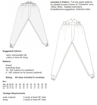 "1830s-50s ""Cossacks"" Trousers Pattern"