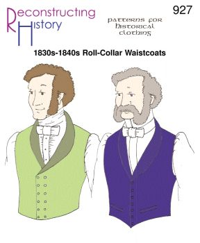 1830s-40s Single-Breasted Roll-Collar Waistcoat Pattern