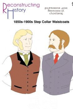 1850s-1900s SB & DB Waistcoat with Step Collar Pattern