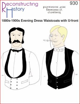 1880s-1900s SB & DB Evening Waistcoat with deep U-front Pattern