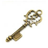 Antique Bronze Plated Steampunk Victorian Style Skeleton Key for Jewelry or Costumes