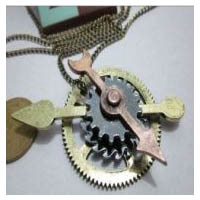 Bronze & Copper Finish Vintage Steampunk Gear and Watch Hands Necklace