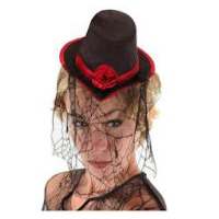 Little Victorian Top Hat - Red Trim