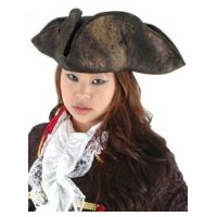 Scallywag Pirate Hat - Distressed Black Faux Leather