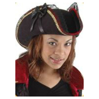 Lady Buccaneer Black Ultra-Suede Pirate Hat