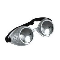 Steampunk Atomic Ray Goggles - Silver with Mirror Lens