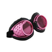 Steampunk Cyberpunk Radioactive Aviator Goggles - Pink and Black