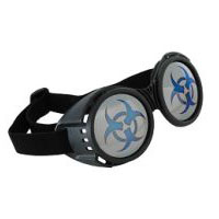 Steampunk Biohazard Goggles - Black with Mirror Lenses