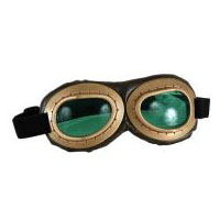 Aviator Goggles - Gold and Brown with Green Lenses