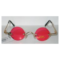 Fu Man Chu Glasses - Gold with Red Lens