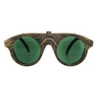 Steampunk Forgeman Goggles/Glasses - Gold with Green Lenses