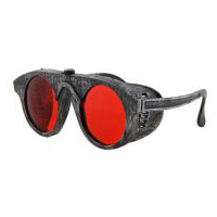 Steampunk Forgeman Goggles/Glasses - Silver with Red Lenses
