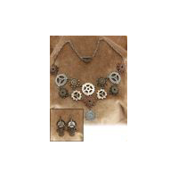 Steampunk Multi-Gears Necklace and Earrings - Costume Accessory
