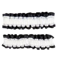 Roaring 20's � Wild West - Victorian Garters Armbands � Black and White Satin