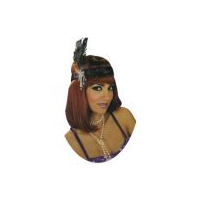 Charleston Flapper Headpiece with �Diamond� Accents - Black