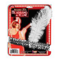 Flapper Head Band � Silver Shimmer with Feather