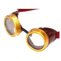 Steampunk Brown Goggles with Gold Rims