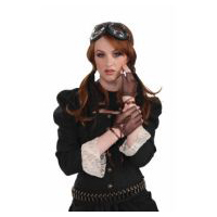Steampunk Victorian Fingerless Brown Gloves