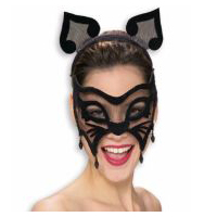 Black Net Cat Venetian Mask with Ears