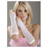 White Fishnet Fiingerless Gloves
