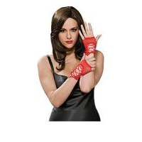 Red Fiingerless Wrist Length Lace-up Gloves