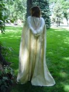 Gold and White Ecclesiastical Brocade & Satin Cloak with Feather Trim