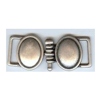 Two Solid Ovals Interlinked with a Peg in Antique Silver Finish. 20 MM in size