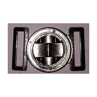Textured Solid Circle Clasp Closure in Dark Gunmetal Nickel Finish