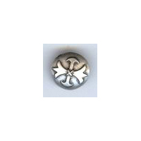"Musketeer (Fleur di Lis) Button, Antique  Silver 5/8"" (18mm)"
