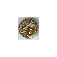 "Lock and Key Shield Button in Gold Finish 3/4"" (18mm)"