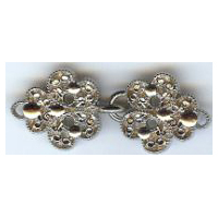 Ornate Shiny Silver/Nickel Finish Cloak Clasp