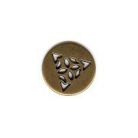 "Celtic Triangle Button � Antique Brass Finish. 5/8"" (16mm) Button"
