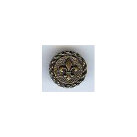 "Fleur De Lis Button. Antique Brass finish. Size  3/4"" (18mm)"