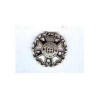 "Admeritum Iuventutis Iron Cross Button, Antiqued Silver Finish. Size 7/8"" (20mm)"