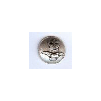 "Crown and Hawk Antique Silver Finish Metal Button. Size 7/8"" (20mm)"