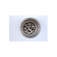 "Rampant Lion Button, Antique Silver finish. Size 7/8"" (20mm)"
