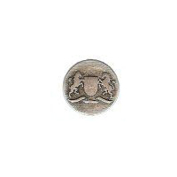 "Rampant Lion & Rampant Unicorn Heraldry Button. Antique Silver Finish, size 7/8"" (20mm)"